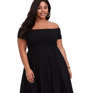 TORRID Black Off Shoulder Smocked Challis Dress 1